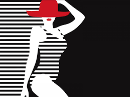 woman stylized summer ppt backgrounds black design red white
