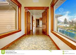large hallway in empty house new luxury home interior stock