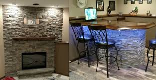 new fireplace veneer with matching bar creative faux panels