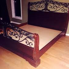 find more king size solid wood sleigh bed with black wrought iron