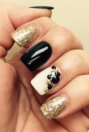 nexgen mails black white u0026 gold with rhinestones love nail