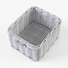 wicker basket 06 set 4 color 3d cgtrader