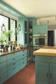 kitchen room shabby chic turquoise kitchen mixed natural brown