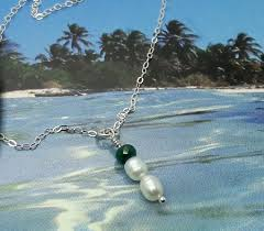 silver necklace with pearls images Pearl necklace emerald sterling silver by bearbitesback on zibbet jpg
