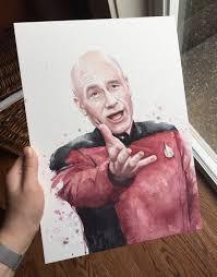 Star Trek Picard Meme - annoyed picard meme original watercolor painting funny star trek