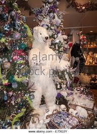 White Polar Bear Christmas Decorations by Christmas Polar Bear Display Stock Photos U0026 Christmas Polar Bear