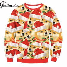 Doge Meme Christmas - feelincolor doge meme dogs 3d sweater hiphop funny christmas