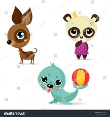 large set icons funny animals white stock vector 364559216