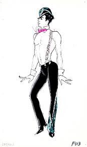a pete menefee costume design drawing of a showgirl in a judy