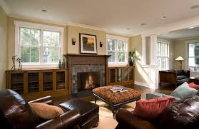 Family Room Fireplace  Built Ins Craftsman Family Room - Family room built in cabinets