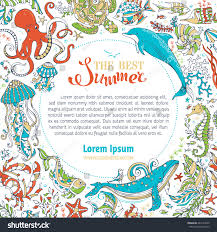 summer marine life circle frame whale stock vector 443154670