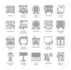 chauffage bureau icônes de ligne avec radiateur convecteur et cheminée équipement