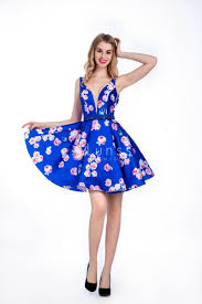 cocktail dresses vintage floral print royal blue sleeveless cocktail dress with