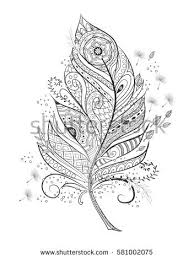 zentangle stylized feather coloring hand stock vector