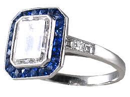 sapphire emerald cut engagement rings antique engagement rings emerald cut ring with sapphires r0568