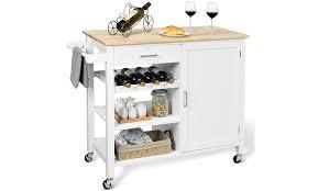 kitchen storage cabinet rack costway 4 tier wood kitchen island trolley cart storage cabinet w wine rack