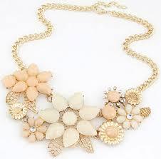 flower necklace images Amber colour statement flower necklace jpg