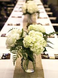 Long Table Centerpieces Wedding Table Decorations With Mason Jars Purple Flowers In Rattan