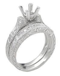 art deco scrolls 2 carat princess cut diamond engagement ring