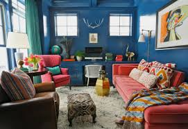 Blue And Gold Rug Living Room Blue Wall Living Room With Pink Tufted Sofa Also Pink