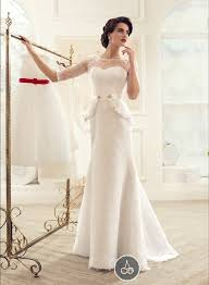 half lace wedding dress russia modest lace wedding dresses with peplum crew sheer half