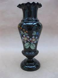 Victorian Glass Vase Antique Victorian Glass Vase Dark Amethyst Hand Painted