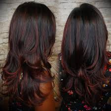 partial red highlights on dark brown hair best 25 black hair red highlights ideas on pinterest red black