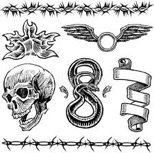 skull flame snake wings barbed wire ribbon tattoo designs