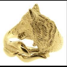 wolf wedding rings alaska wolf ring yellow gold