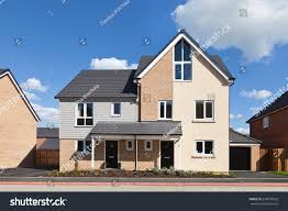 modern english semi detached house garage stock photo 236978563