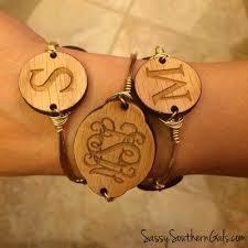 Monogrammed Bangle Bracelet Wood Monogram Bangle Wire Bracelet W Engraved Wood Monogram