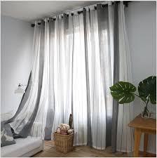 Sheer Gray Curtains 2017 Gray Vertical Stripes Minimalist Living Room Mediterranean