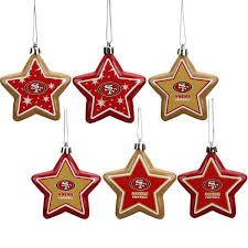san francisco 49ers 6 pack shatterproof star ornament set