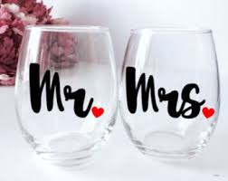his hers wine glasses his and hers glasses etsy