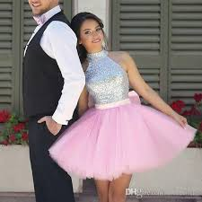 graduation dresses for high school pink prom dresses high neck sequins with bow mini 8th