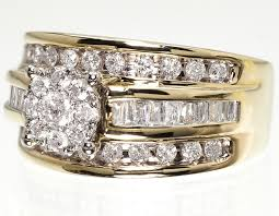 womens engagement rings 10k yellow gold 3 row cluster diamond solitaire engagement