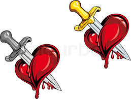 cartoon heart with medieval dagger in retro style for tattoo