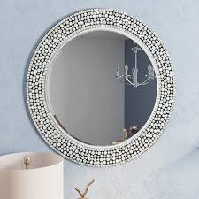 Round Gray Decorative Wall Mirror & Reviews
