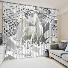 deco chambre cheval enfants chambre rideaux pour fenêtre chambre 3d photo cheval rideaux