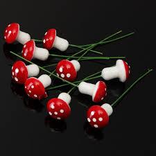 10pcs red mushrooms miniature resin garden fairy ornament