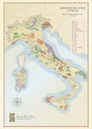 Maps Italy Italian Wine Regions Map Handcrafted Illustration Cellar Tours