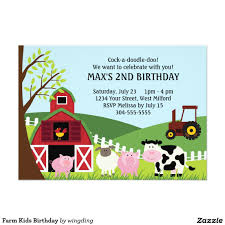 2nd Birthday Invitation Card Farm Kids Birthday 5x7 Paper Invitation Card Birthday