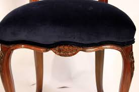 six dining room chairs with navy velvet and damask fabric six