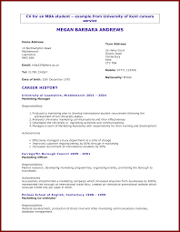 Example Resume Student by Cv Template Business Student