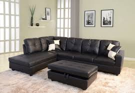 Right Sectional Sofa Low Profile Black Faux Leather Sectional Sofa W Right Arm Chaise