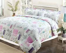 Pink And Gray Comforter Girls Paris Bedding Ebay