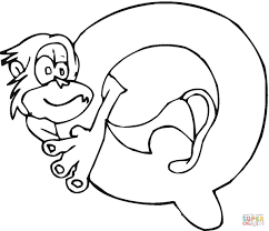 letter q with monkey coloring page free printable coloring pages