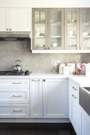 White Kitchen Cabinets With Glass Doors White Kitchen Cabinets With Gray Framed Glass Doors Transitional