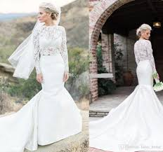 sleeve lace wedding dress 2018 chic two pieces mermaid wedding dresses sleeves lace