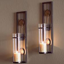 Wall Candle Sconce Danya B Black Metal Frame Tealight Candle Sconces With Mirror Set